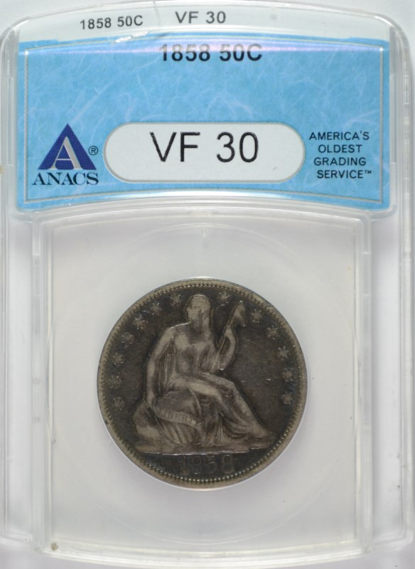 1858 SEATED HALF DOLLAR ANACS VF30-CRACKED HOLDER