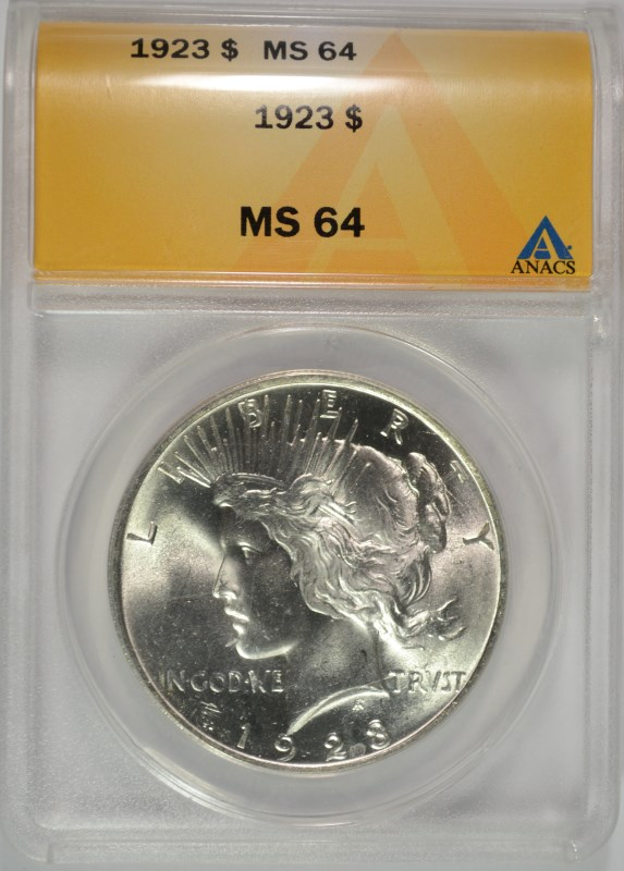 1923 PEACE SILVER DOLLAR, ANACS MS-64 BLAST WHITE