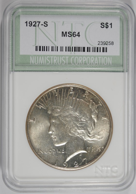 1927-S PEACE SILVER DOLLAR, NTC GEM BU SEMI-KEY WHITE!