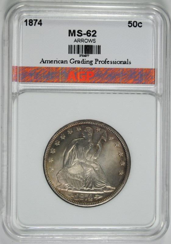 1874 WITH ARROWS SEATED HALF DOLLAR, AGP CHOICE BU