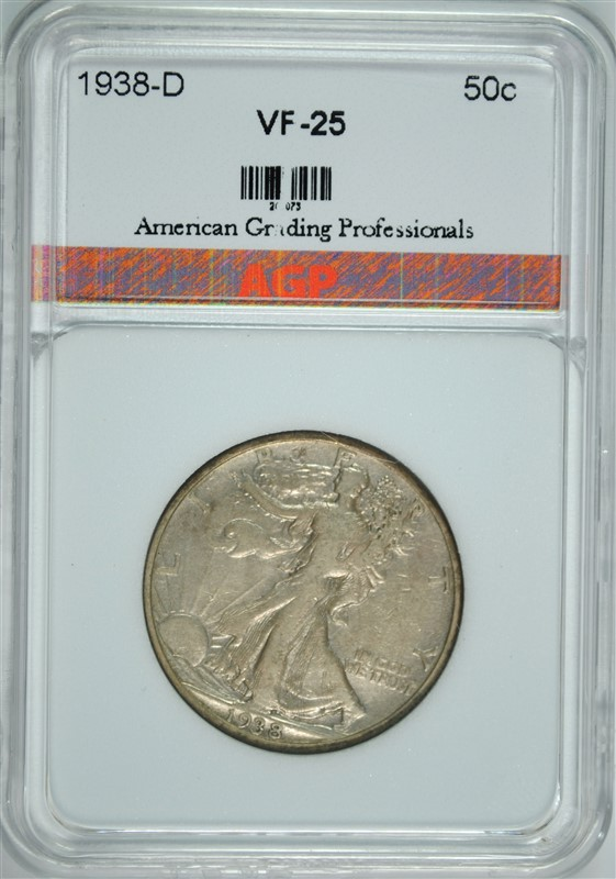 1938-D WALKING LIBERTY HALF DOLLAR, AGP VF