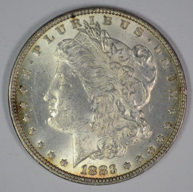 1883 MORGAN SILVER DOLLAR, CHOICE BU