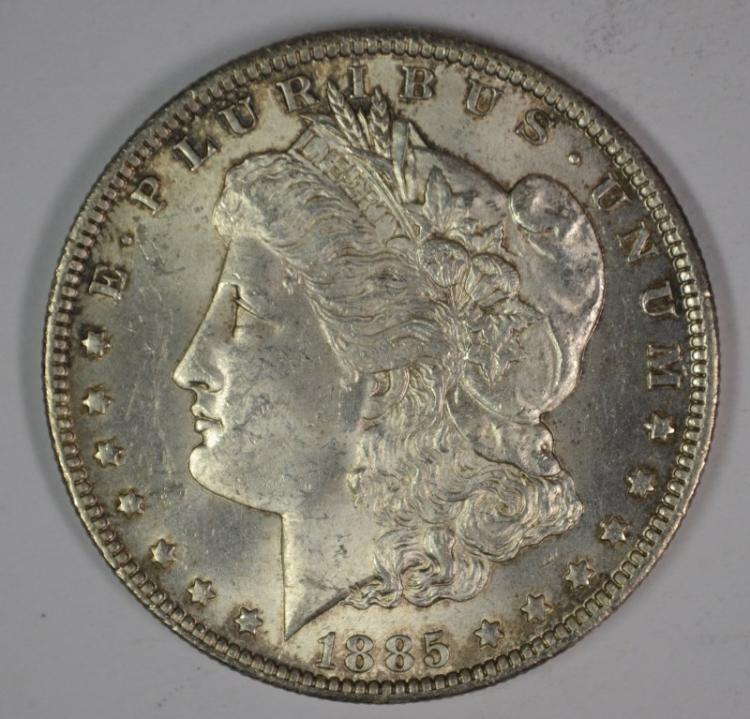 1885-O MORGAN SILVER DOLLAR, CHOICE BU