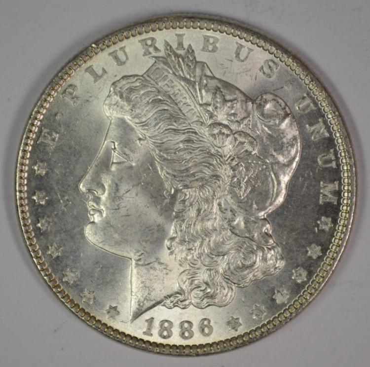 1886 MORGAN SILVER DOLLAR, CHOICE BU