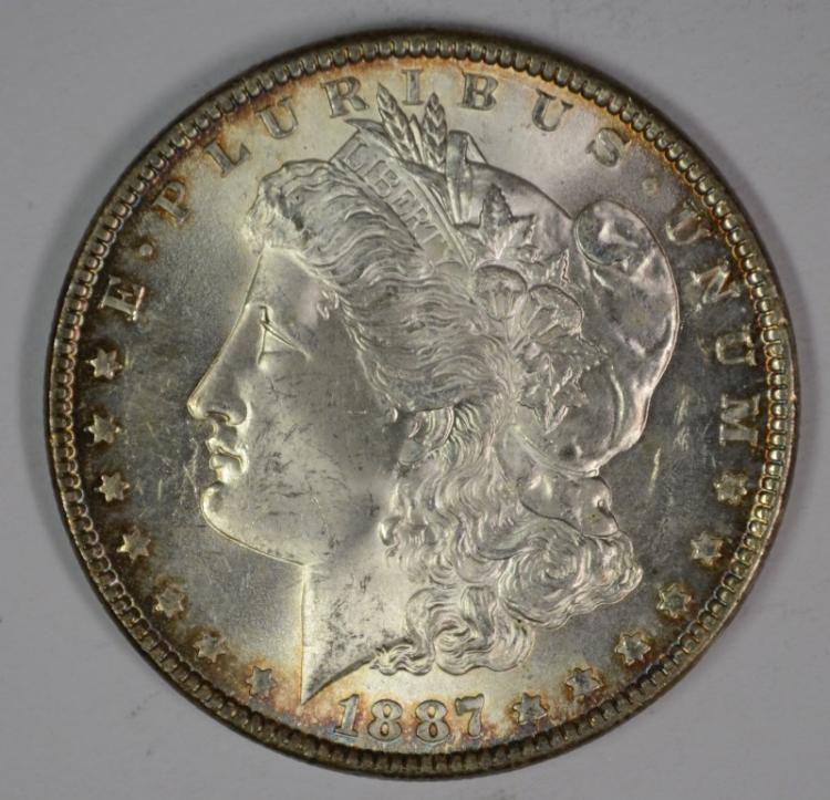 1887 MORGAN SILVER DOLLAR, CHOICE BU  FLASHY!