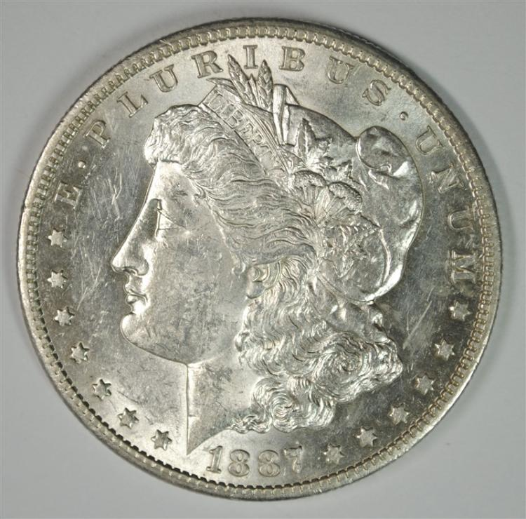 1887-S MORGAN SILVER DOLLAR - CHOICE BU