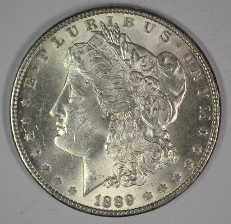 1889 MORGAN SILVER DOLLAR, CHOICE BU