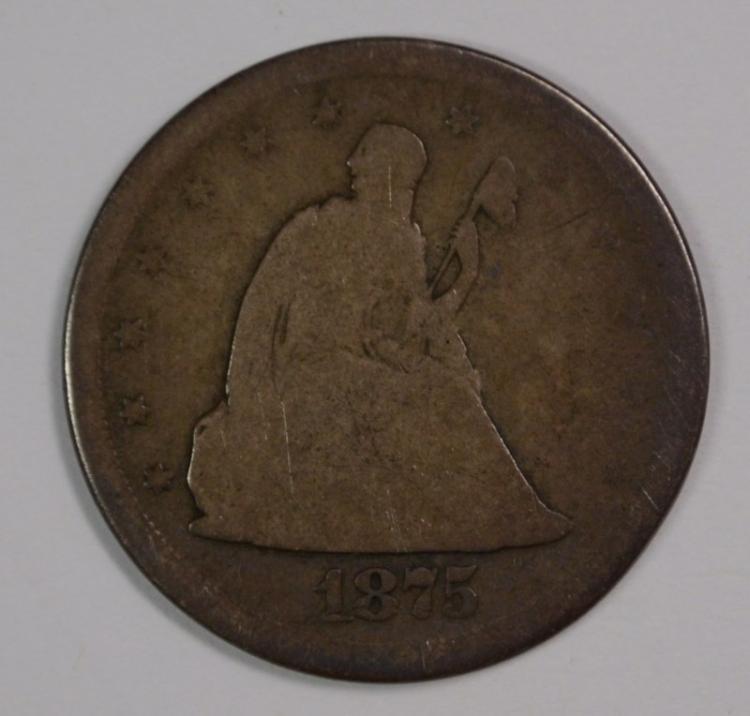 1875-S TWENTY CENT PIECE, GOOD