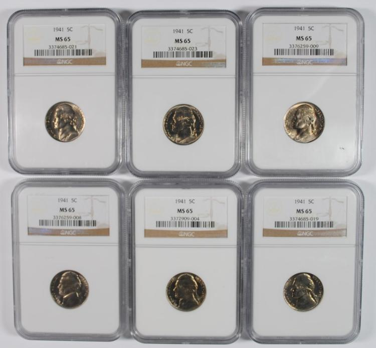 6 - 1941 Jefferson Nickels NGC MS65