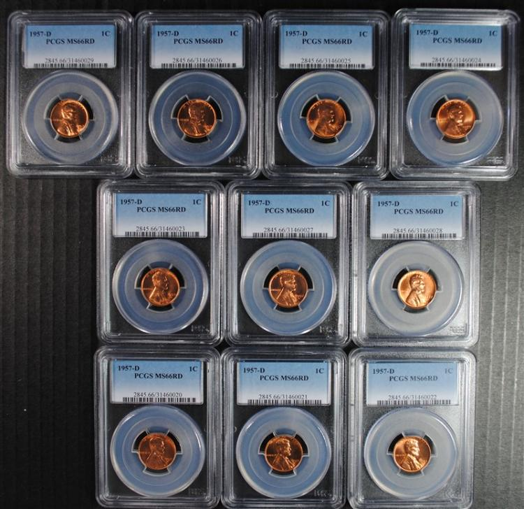 10 1957-D LINCOLN WHEAT CENTS PCGS MS 66 RED