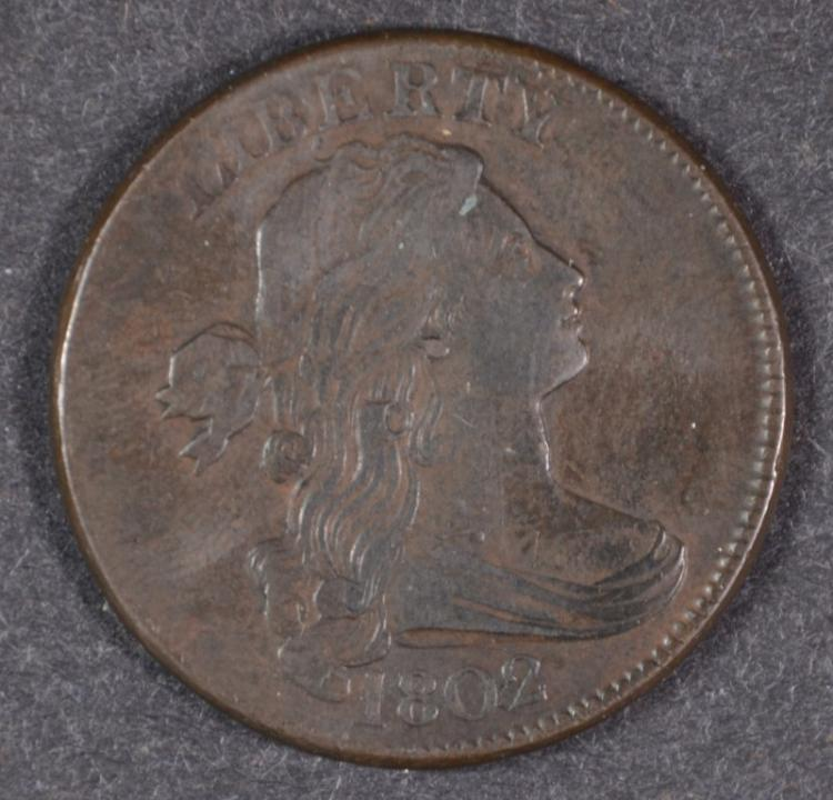1802 DRAPED BUST LARGE CENT, XF/AU