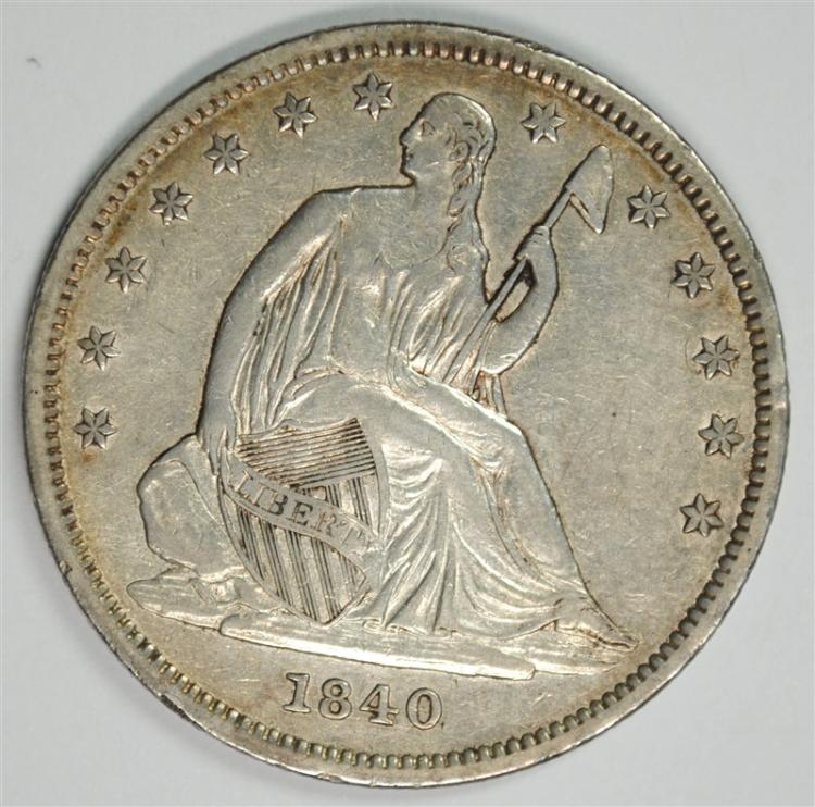 1840 SEATED HALF DOLLAR, XF