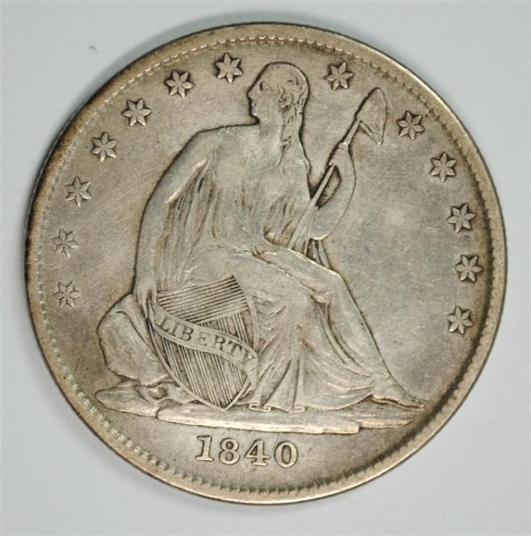 1840-O SEATED HALF DOLLAR, VF/XF MANY REVERSE DIE CRACKS! SCARCE VARIETY!