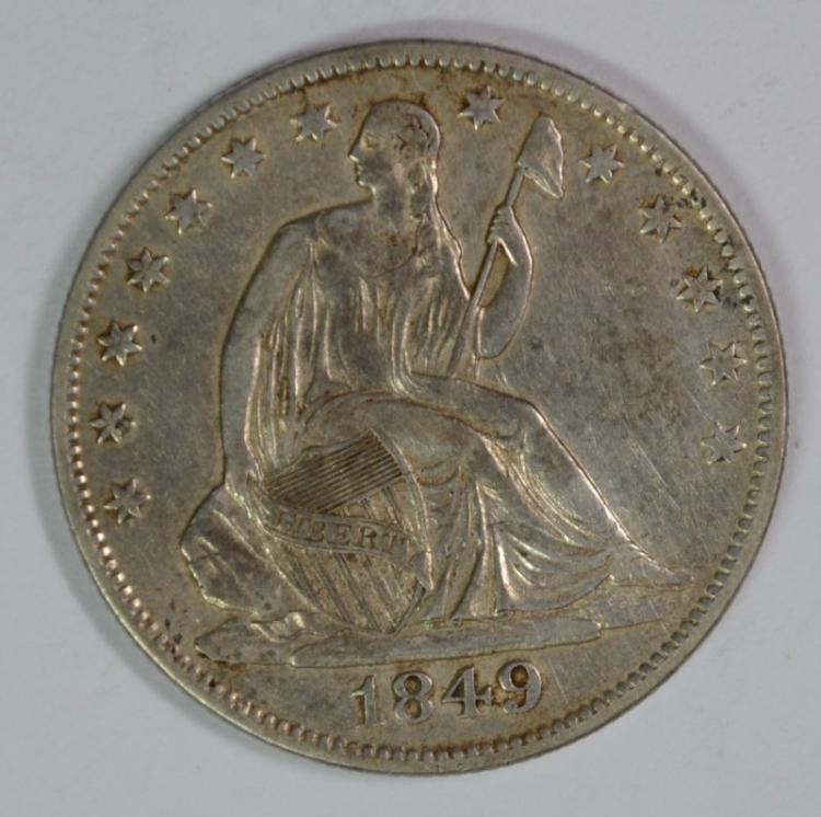 1849-O SEATED HALF DOLLAR, AU  TOUGH DATE!