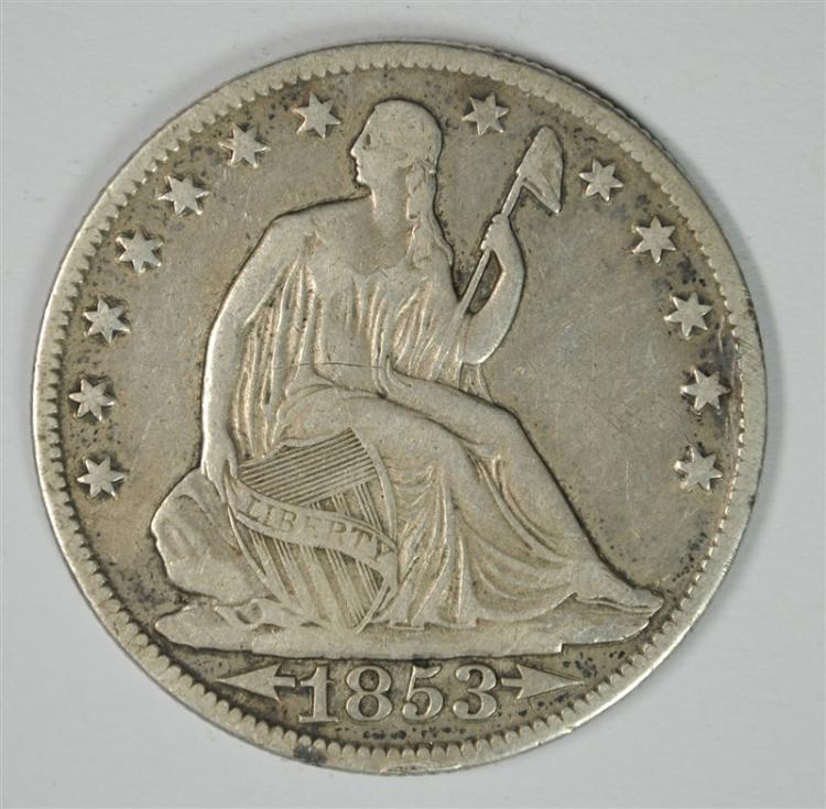1853-O WITH ARROWS & RAYS SEATED HALF DOLLAR,  VF+