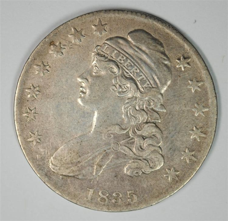 1835 CAPPED BUST HALF DOLLAR, XF/AU SUPER ORIGINAL