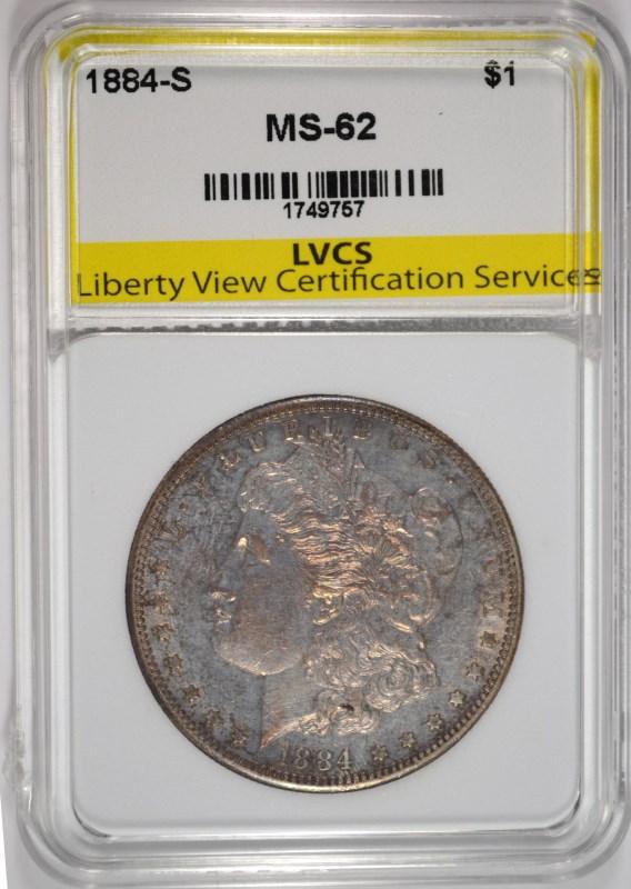 1884-S MORGAN SILVER DOLLAR LVCS CH BU  RARE