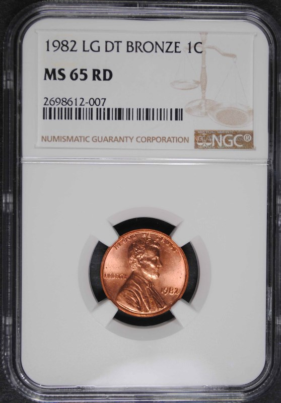1982 LARGE DATE BRONZE LINCOLN CENT NGC MS 65 RD