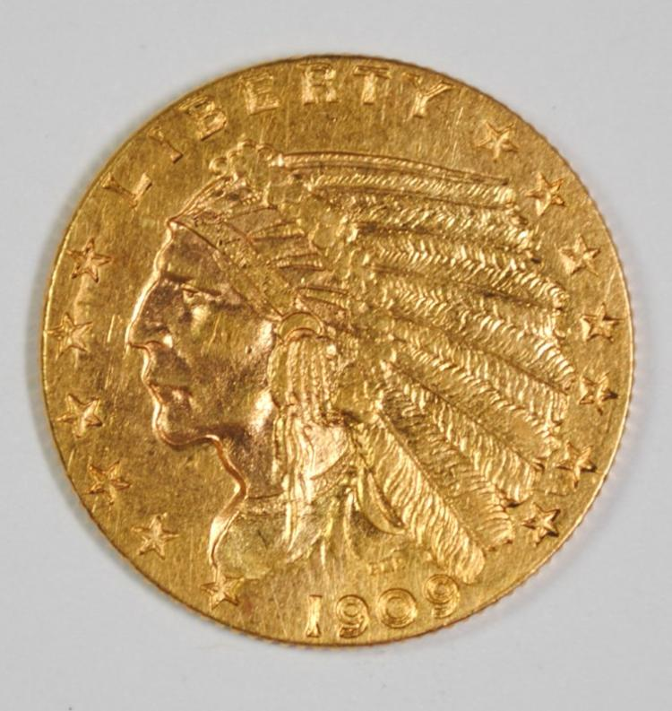 1909 $2.5 GOLD INDIAN CH BU