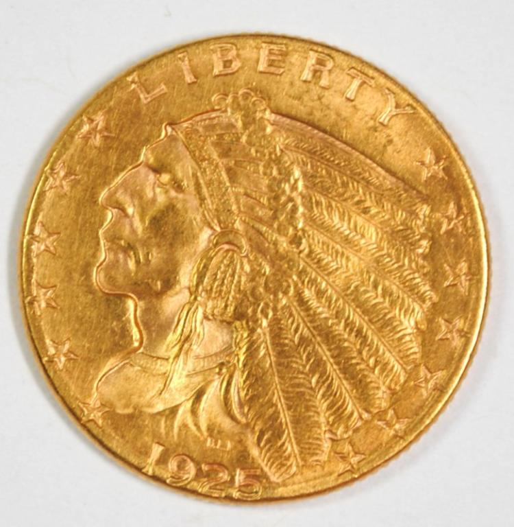 1925-D $2.5 GOLD INDIAN GEM BU