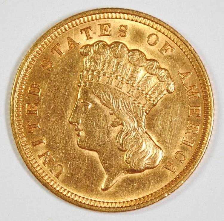 1856 $3 GOLD BU CLEANED