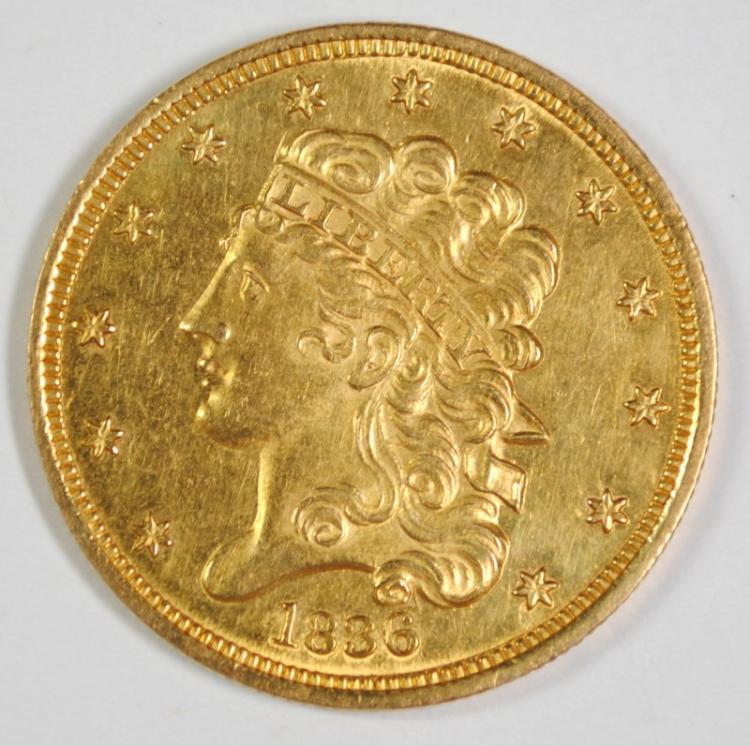 1836 CLASSIC HEAD $5 GOLD CH BU PROOF LIKE