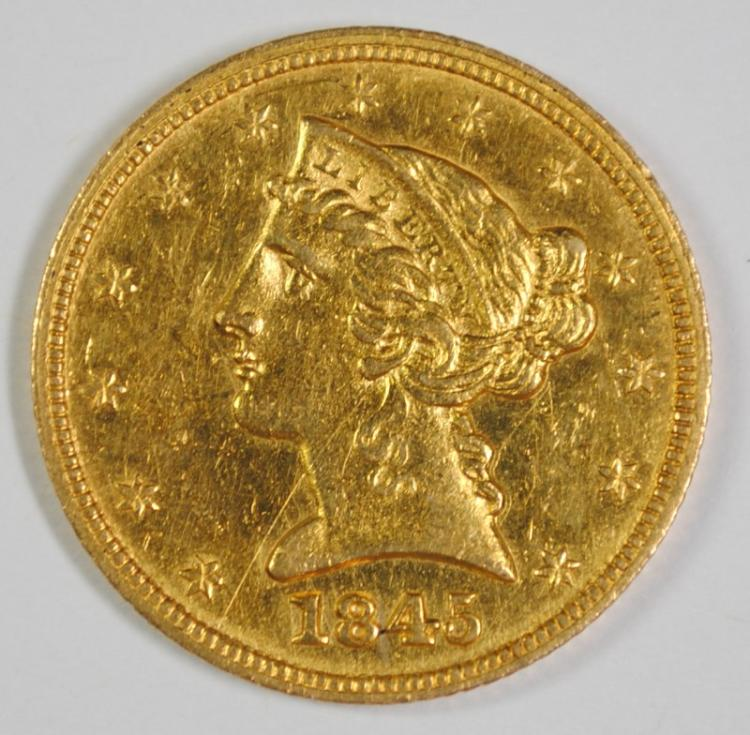 1845 $5 GOLD LIBERTY BU LIGHT CLEANING