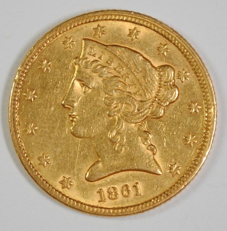1861 $5 GOLD LIBERTY AU/BU