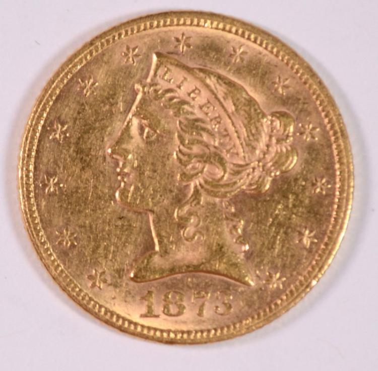 1873 $5 GOLD OPEN 3 BU