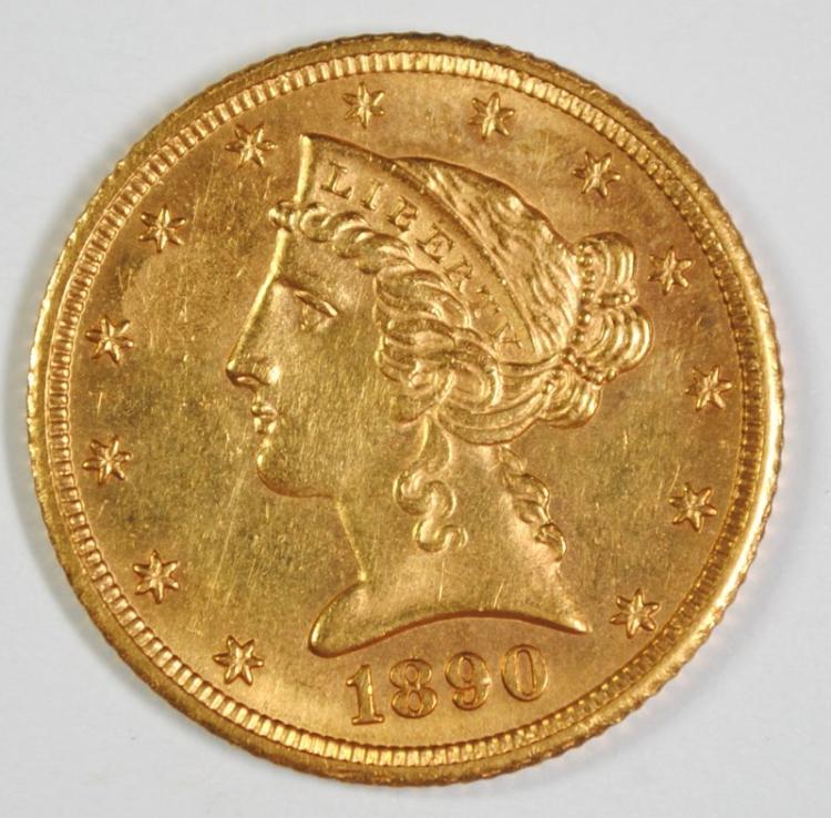 1890-CC $5 GOLD LIBERTY CH BU