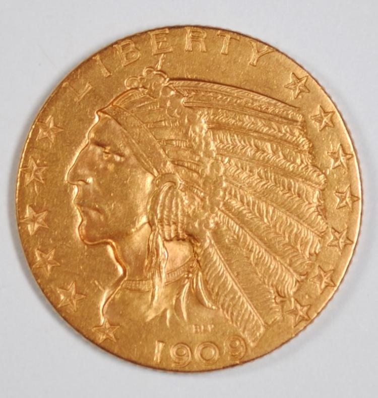 1909-O $5 GOLD INDIAN BU OLD LIGHT CLEANING. SUPER RARE KEY DATE