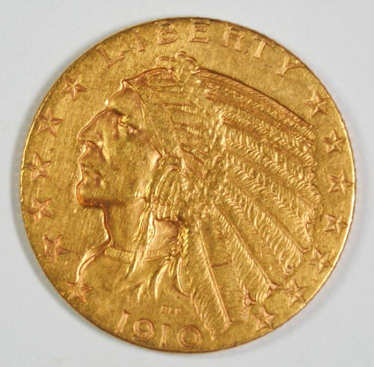 1910-S $5 GOLD INDIAN BU