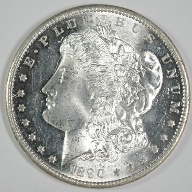 1890-S MORGAN DOLLAR CH/GEM BU SEMI PL FLASHY COIN