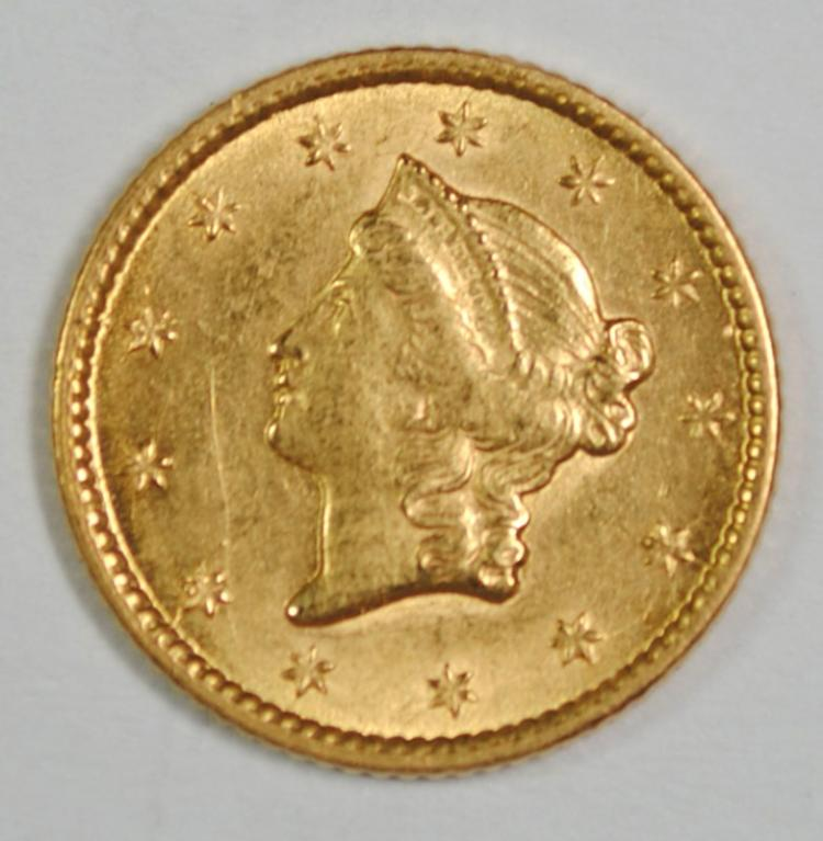 1853 $1 GOLD CH BU