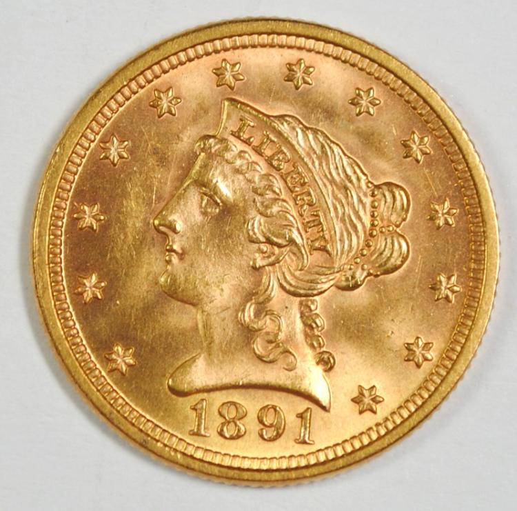 1891 $2.5 GOLD LIBERTY DOUBLE DIE REV. GEM BU