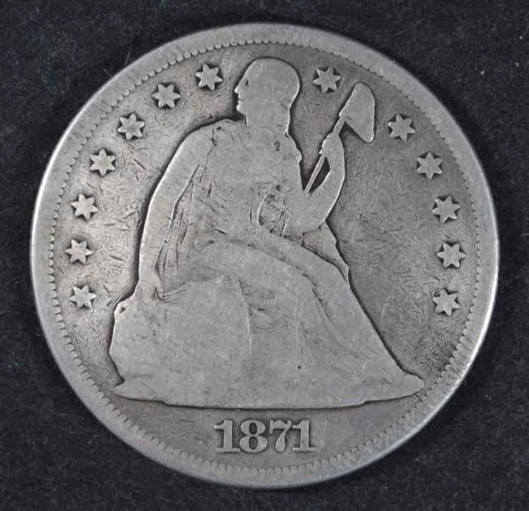 1871-CC SEATED DOLLAR, VERY NICE VG  RARE!!
