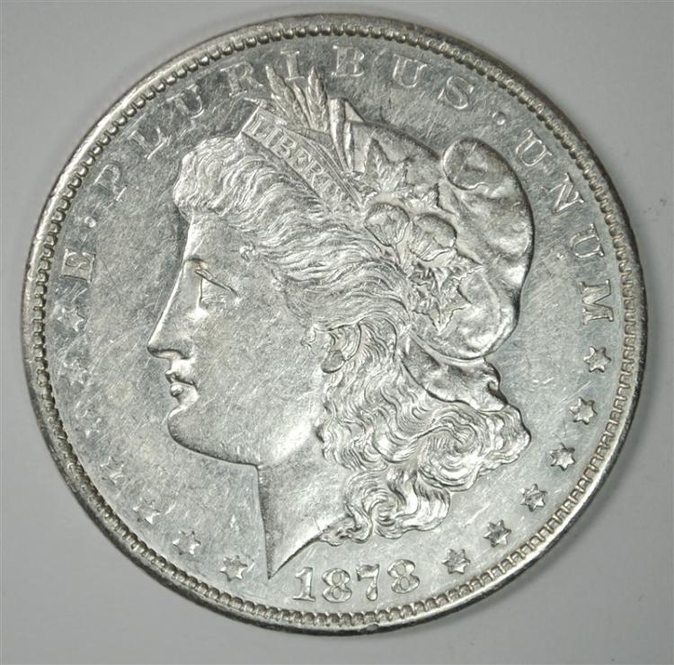 1878-CC MORGAN SILVER DOLLAR, AU/BU  KEY DATE