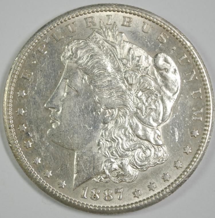 1887-S MORGAN SILVER DOLLAR CHOICE BU
