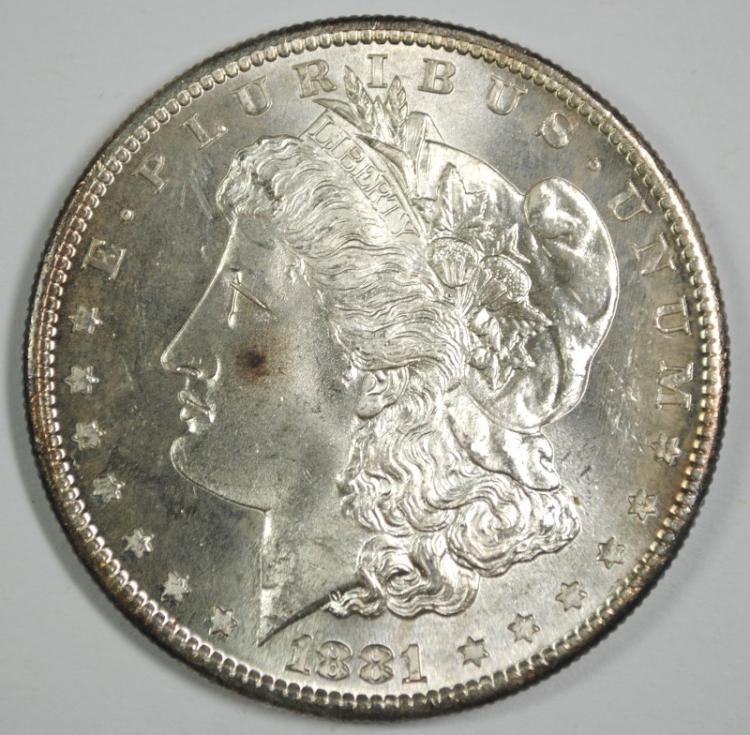 1881-S MORGAN SILVER DOLLAR, CHOICE BU+ FLASHY & SEMI-PL