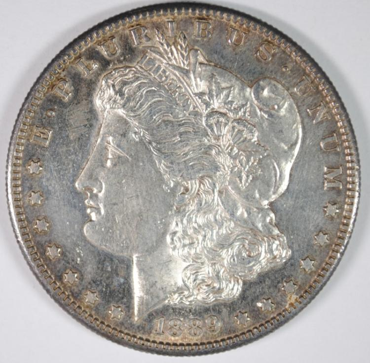 1889-S MORGAN DOLLAR CHOICE BU cleaned