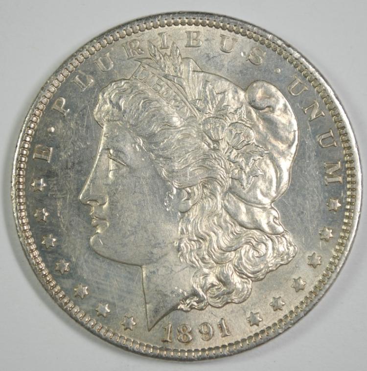 1891-CC MORGAN DOLLAR CH BU WHITE