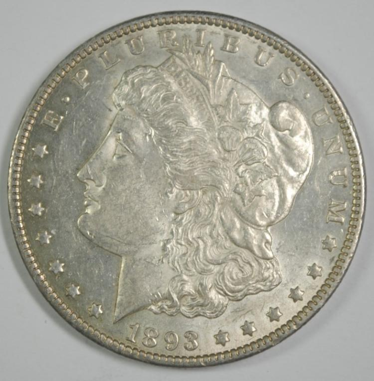 1893-O MORGAN SILVER DOLLAR, CHOICE BU  KEY DATE!!