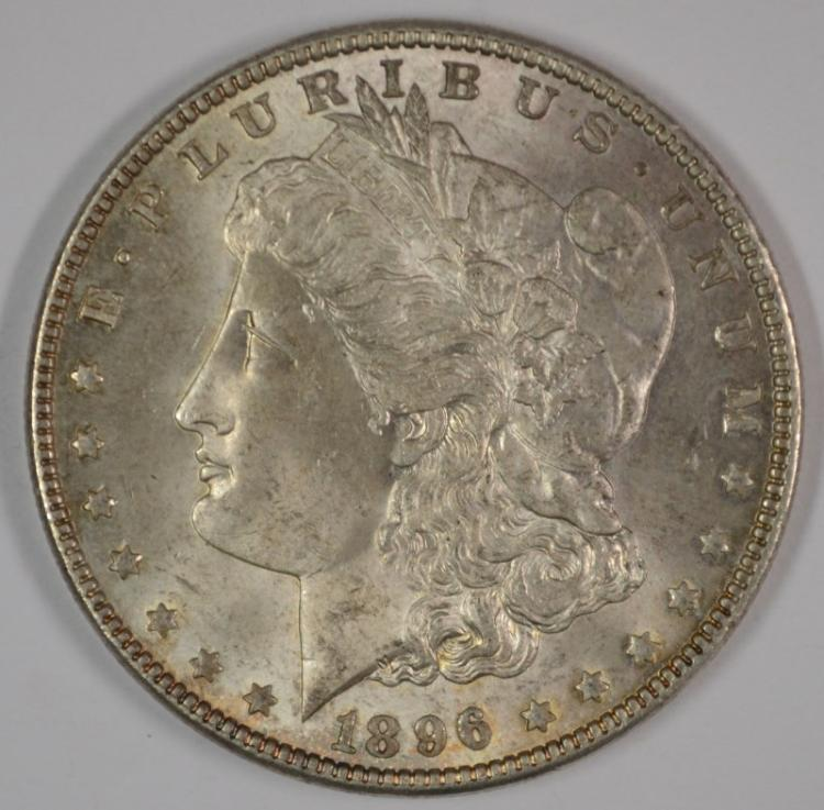 1896 MORGAN SILVER DOLLAR, GEM BU ORIGINAL