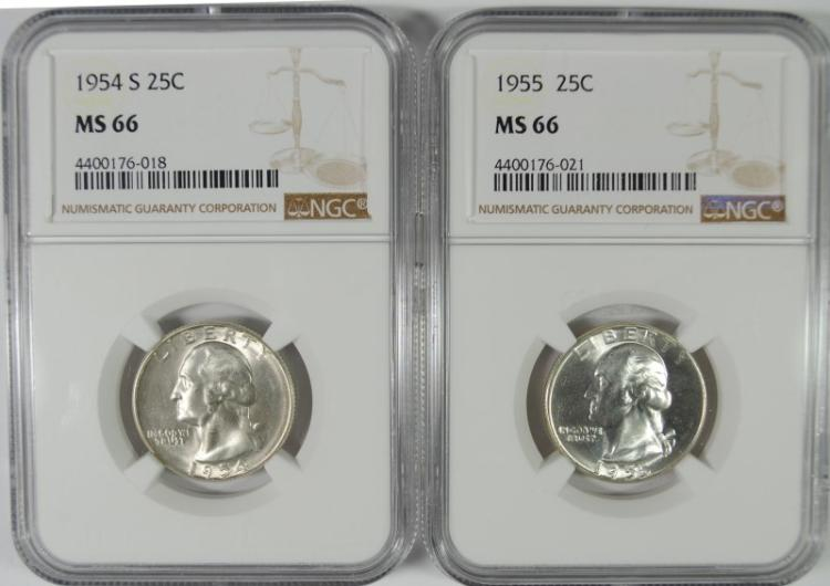 1954-S & 1955 WASHINGTON QUARTERS, NGC MS-66