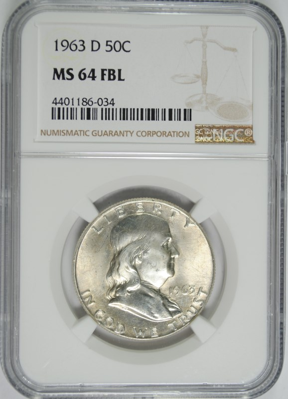 1963-D FRANKLIN HALF DOLLAR, NGC MS-64 FBL