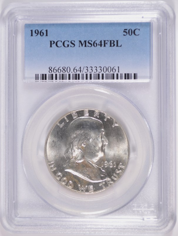 1961 FRANKLIN HALF DOLLAR, PCGS MS-64 FBL SCARCE
