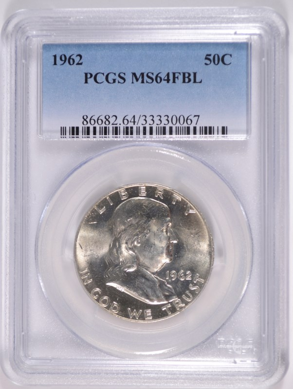 1962 FRANKLIN HALF DOLLAR, PCGS MS-64 FBL RARE!