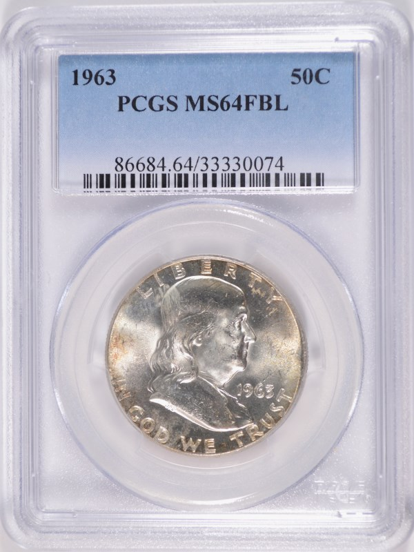 1963 FRANKLIN HALF DOLLAR, PCGS MS-64 FBL RARE!!