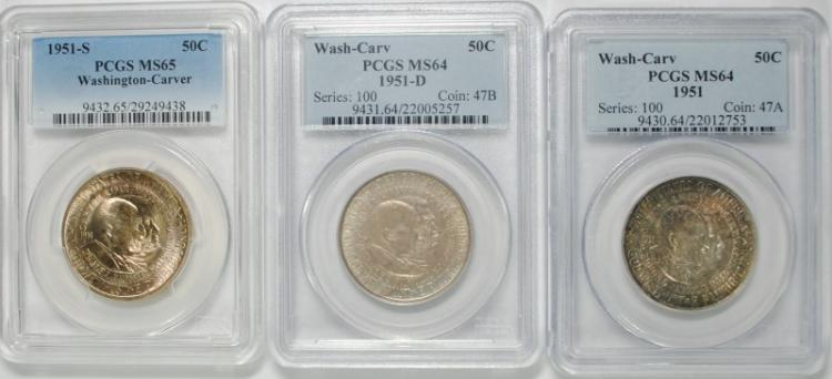 1951-P-D-S WASHINGTON CARVER SET PCGS GRADED: 1951-P&D MS-64 & 51-S MS-65