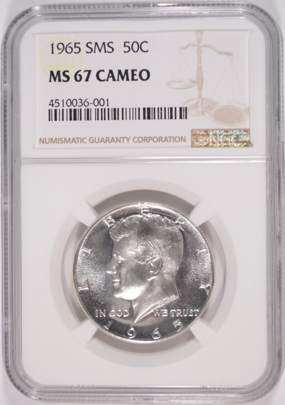 1965 SMS KENNEDY HALF DOLLAR, NGC MS-67 CAMEO!!